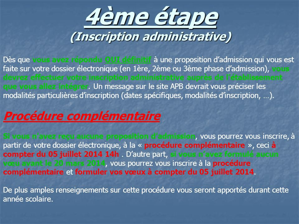 4ème étape (Inscription administrative)