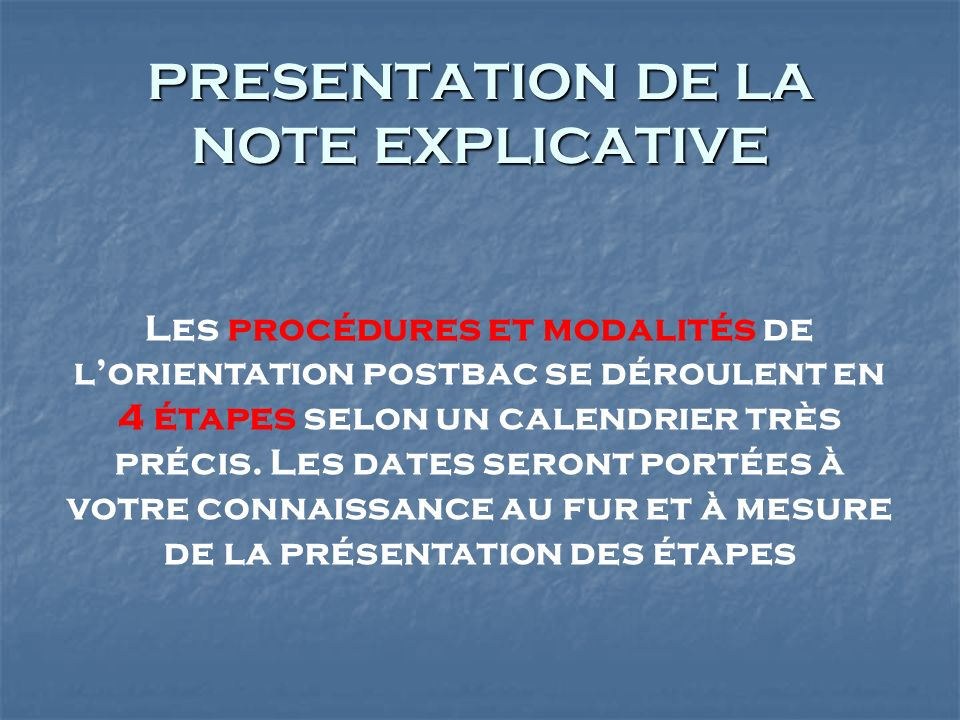 PRESENTATION DE LA NOTE EXPLICATIVE