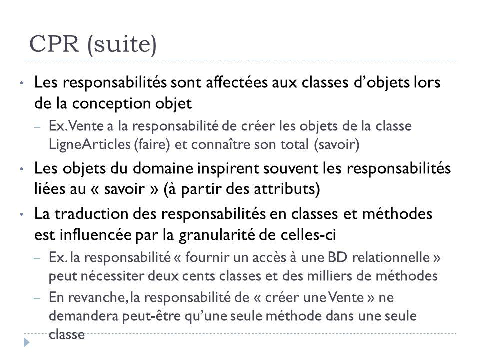 CPR (suite) Les responsabilités sont affectées aux classes d'objets lors de la conception objet.