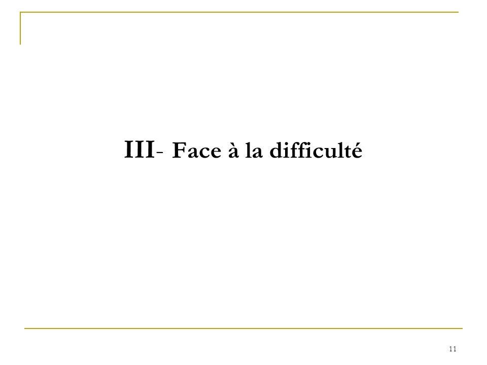 III- Face à la difficulté