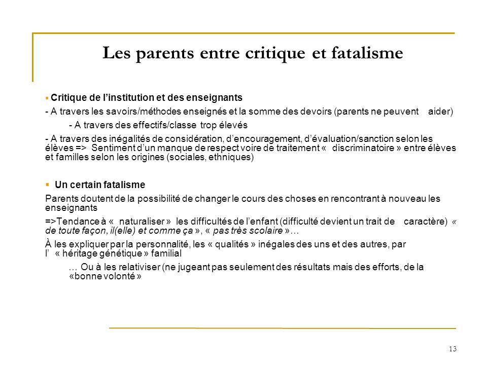 Les parents entre critique et fatalisme