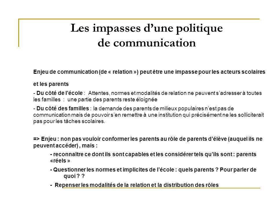 Les impasses d'une politique de communication