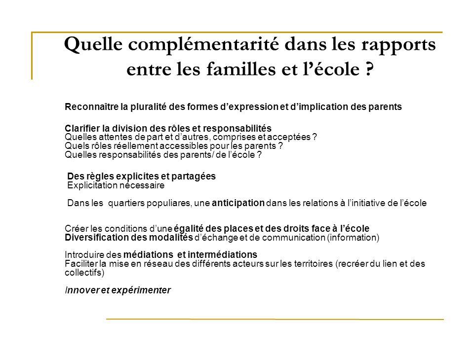 Quelle complémentarité dans les rapports entre les familles et l'école