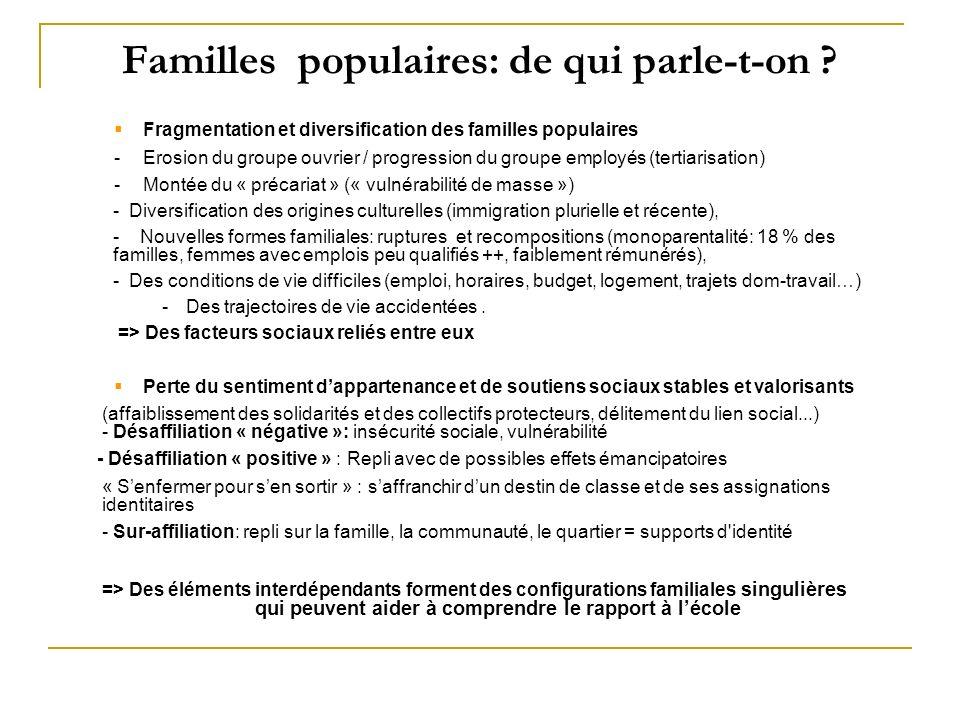 Familles populaires: de qui parle-t-on