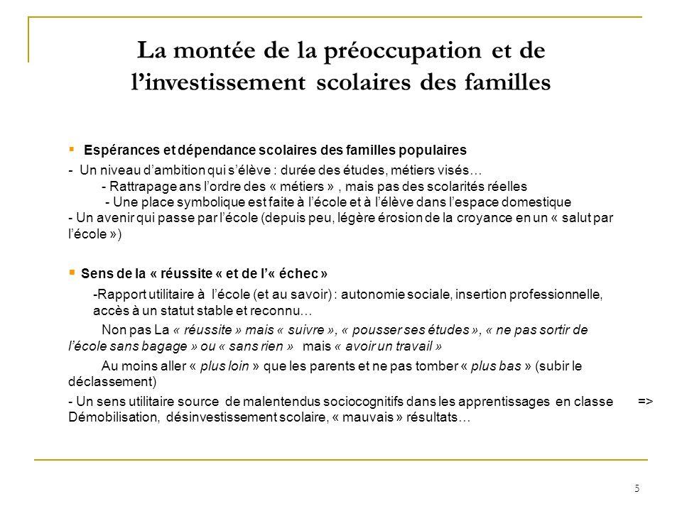 La montée de la préoccupation et de l'investissement scolaires des familles