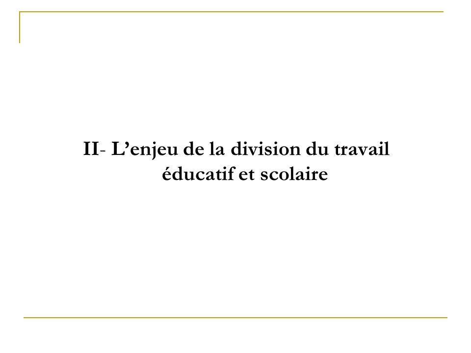 II- L'enjeu de la division du travail éducatif et scolaire