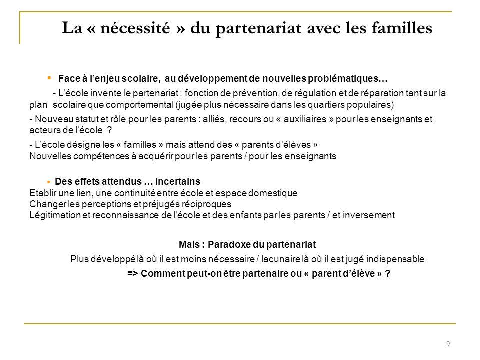 La « nécessité » du partenariat avec les familles