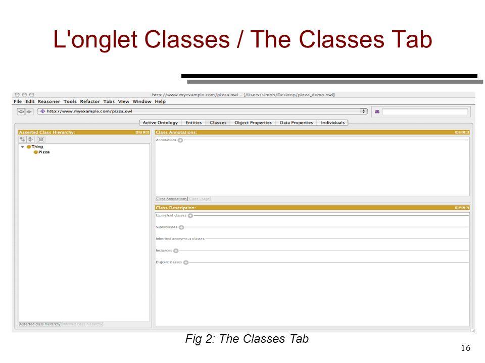 L onglet Classes / The Classes Tab