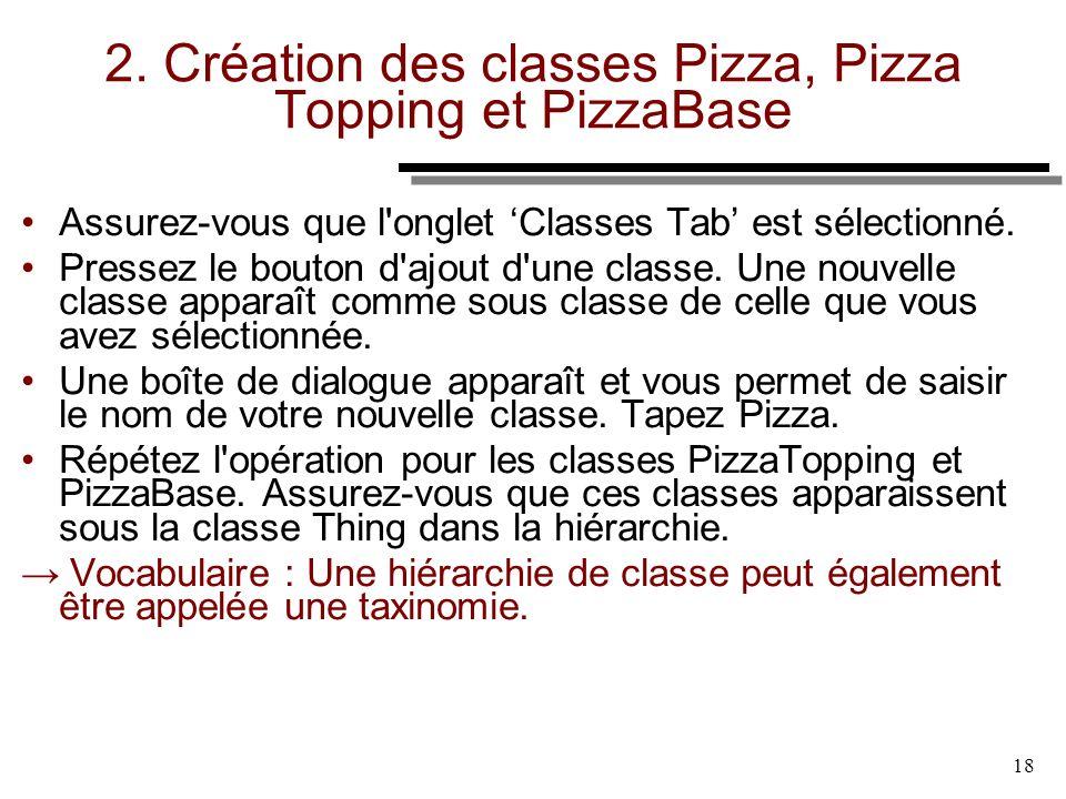 2. Création des classes Pizza, Pizza Topping et PizzaBase