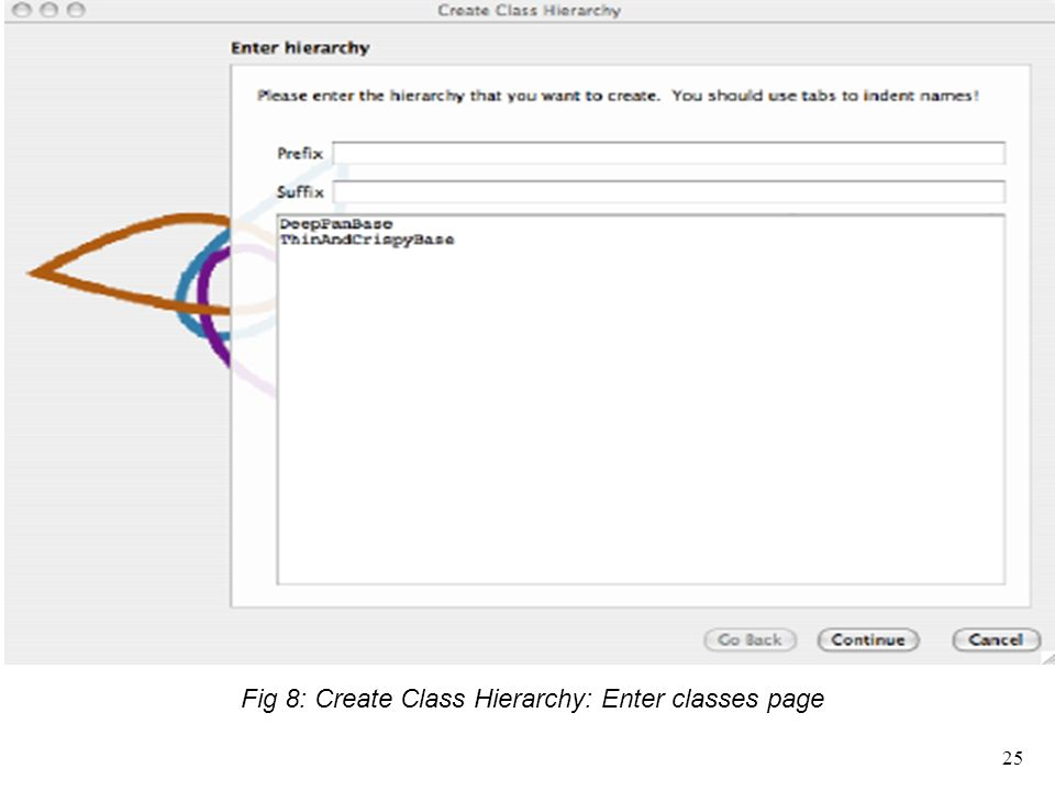 Fig 8: Create Class Hierarchy: Enter classes page