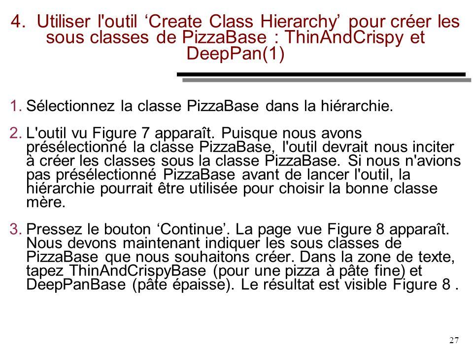 4. Utiliser l outil 'Create Class Hierarchy' pour créer les sous classes de PizzaBase : ThinAndCrispy et DeepPan(1)