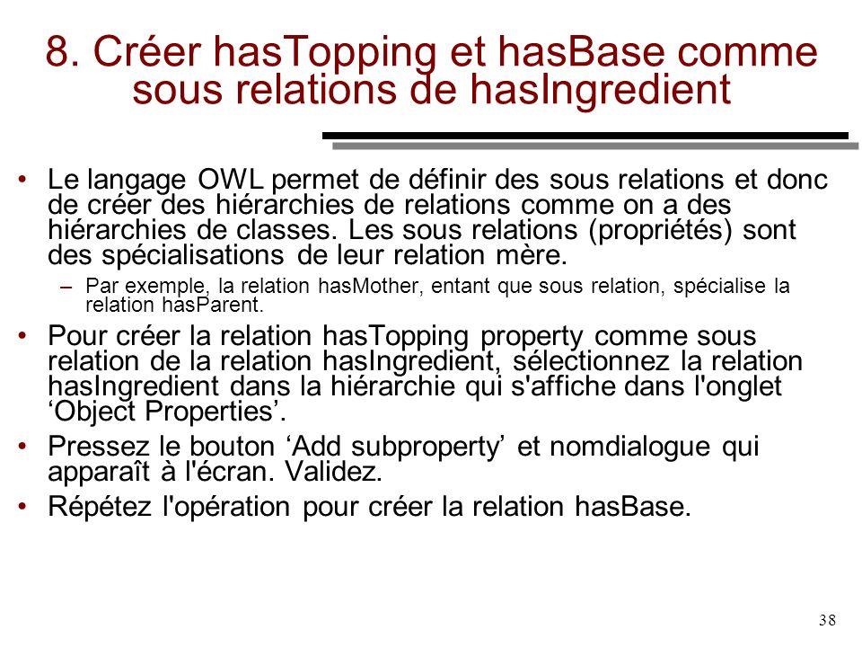 8. Créer hasTopping et hasBase comme sous relations de hasIngredient