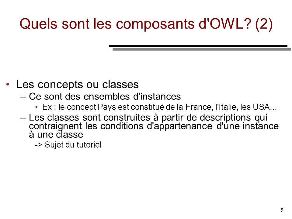 Quels sont les composants d OWL (2)