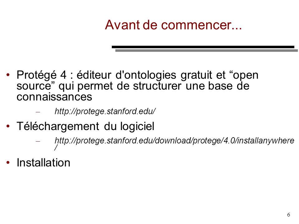 Avant de commencer... Protégé 4 : éditeur d ontologies gratuit et open source qui permet de structurer une base de connaissances.