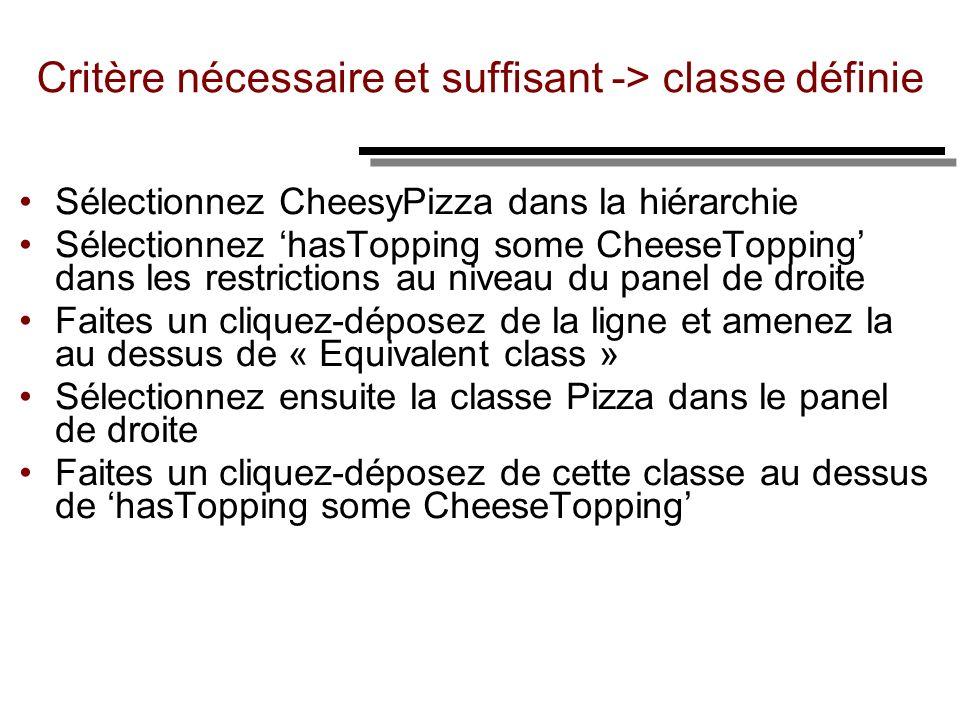 Critère nécessaire et suffisant -> classe définie