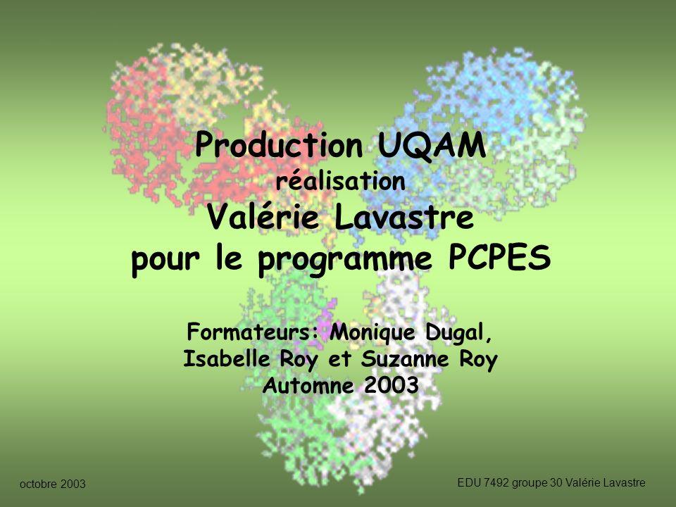 Production UQAM Valérie Lavastre pour le programme PCPES
