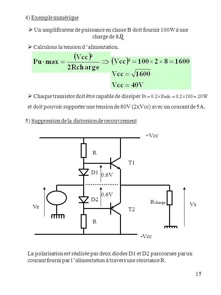 4) Exemple numérique  Un amplificateur de puissance en classe B doit fournir 100W à une charge de 8