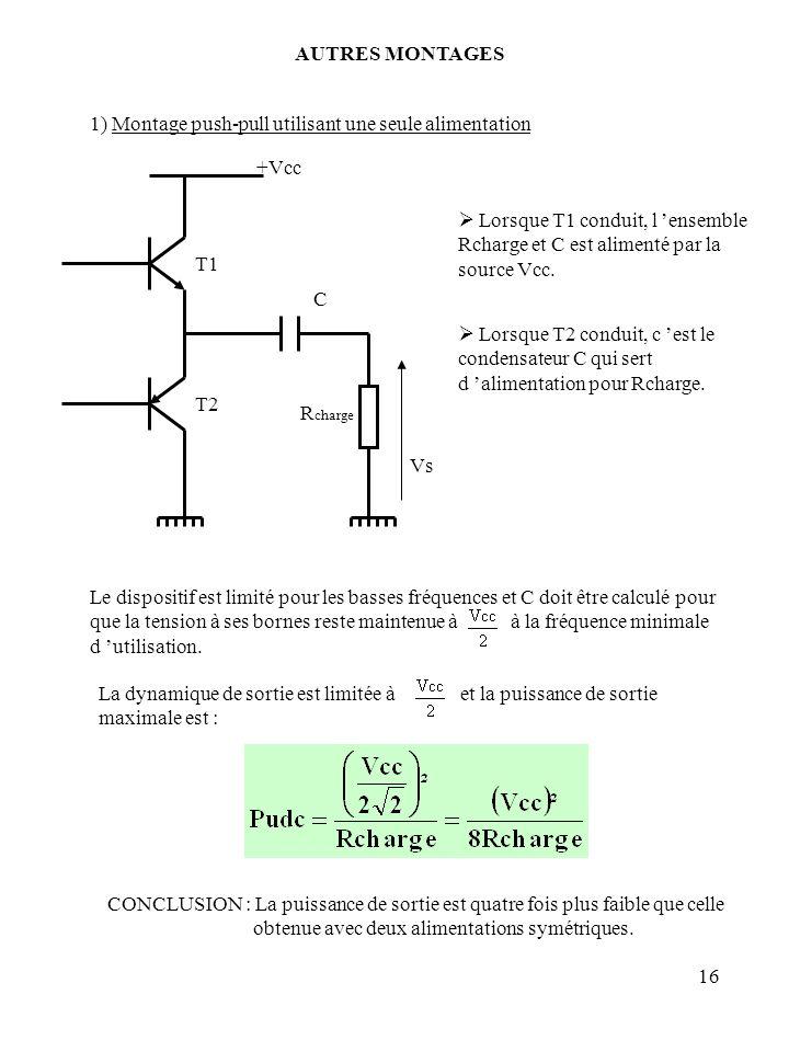 AUTRES MONTAGES 1) Montage push-pull utilisant une seule alimentation. T1. T2. Rcharge. +Vcc. Vs.