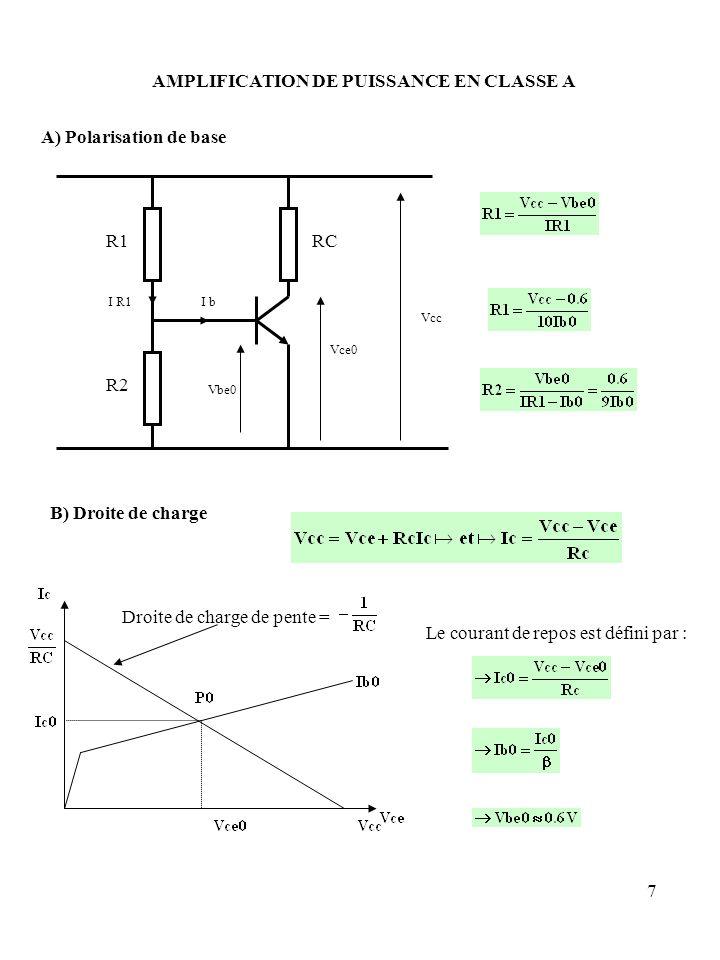 AMPLIFICATION DE PUISSANCE EN CLASSE A A) Polarisation de base