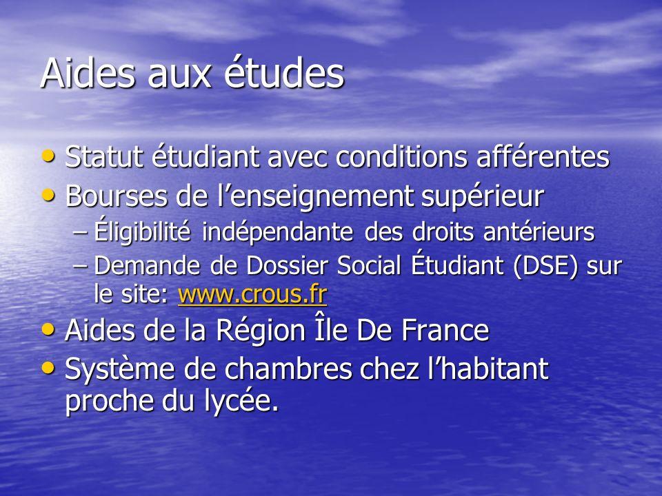 Aides aux études Statut étudiant avec conditions afférentes