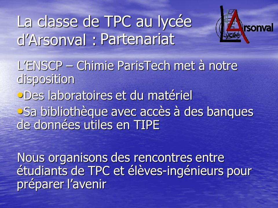 La classe de TPC au lycée d'Arsonval :