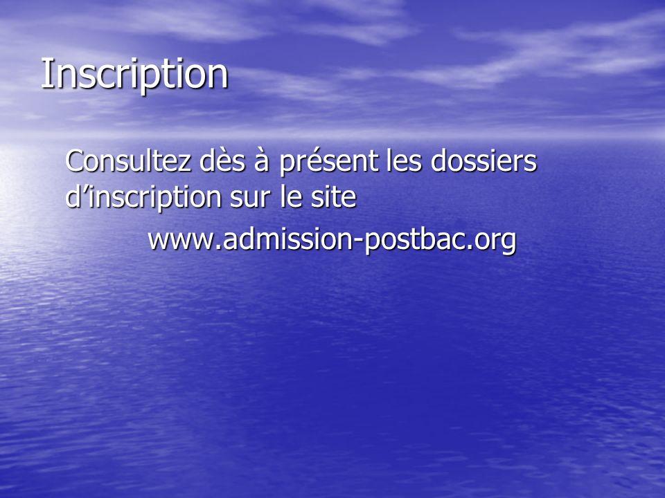 Inscription Consultez dès à présent les dossiers d'inscription sur le site.