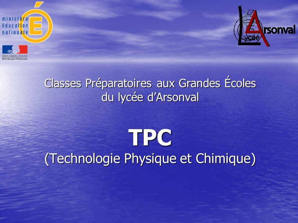 Classes Préparatoires aux Grandes Écoles du lycée d'Arsonval TPC (Technologie Physique et Chimique)