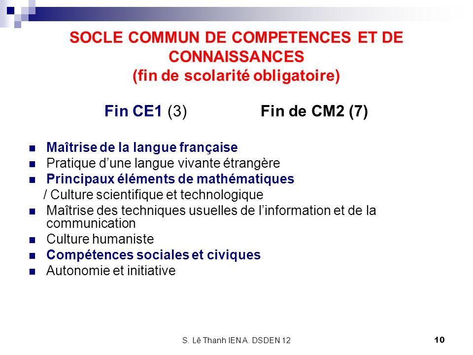 SOCLE COMMUN DE COMPETENCES ET DE CONNAISSANCES (fin de scolarité obligatoire)