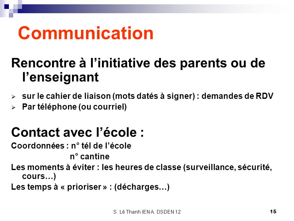 Communication Rencontre à l'initiative des parents ou de l'enseignant