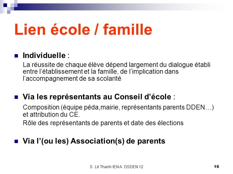 Lien école / famille Individuelle :