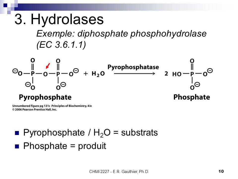 3. Hydrolases Exemple: diphosphate phosphohydrolase (EC 3.6.1.1)
