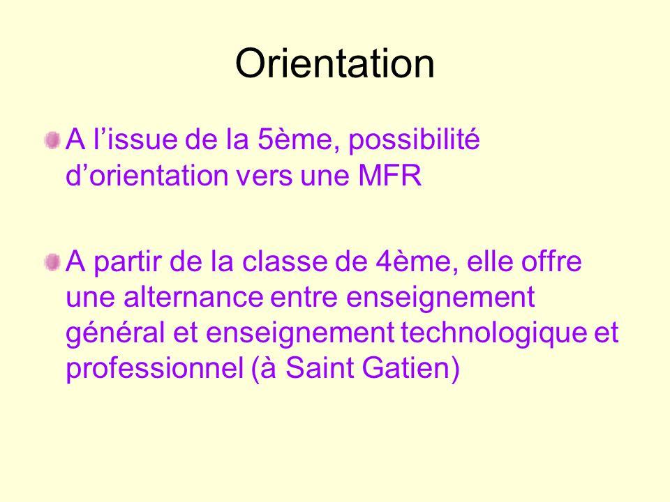 Orientation A l'issue de la 5ème, possibilité d'orientation vers une MFR.