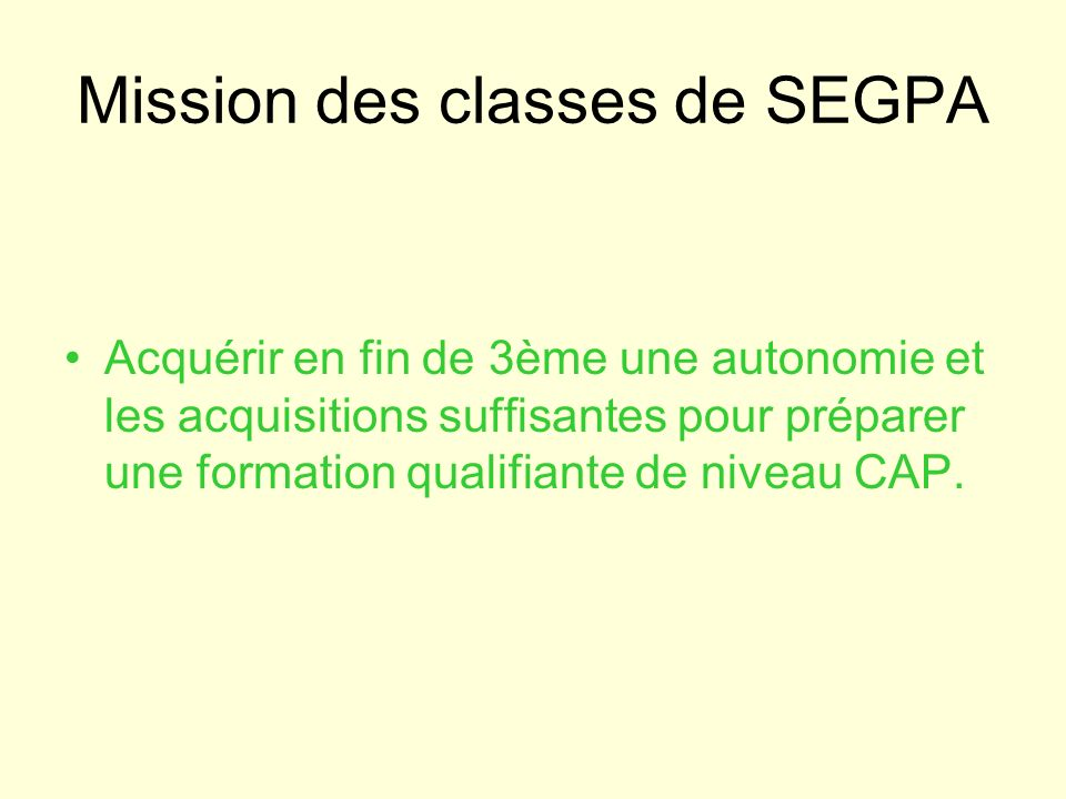 Mission des classes de SEGPA