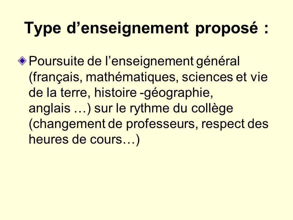 Type d'enseignement proposé :