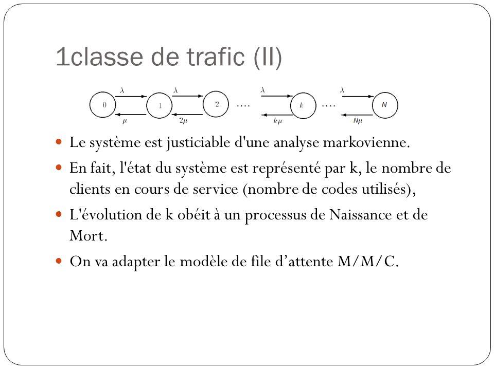 1classe de trafic (II) Le système est justiciable d une analyse markovienne.