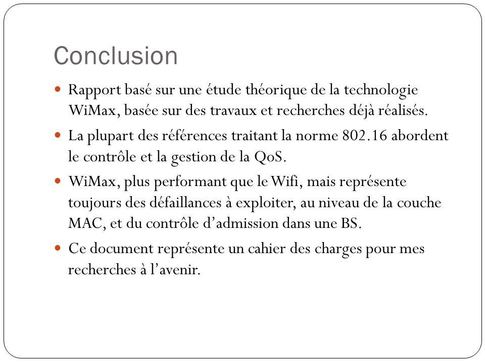 Conclusion Rapport basé sur une étude théorique de la technologie WiMax, basée sur des travaux et recherches déjà réalisés.