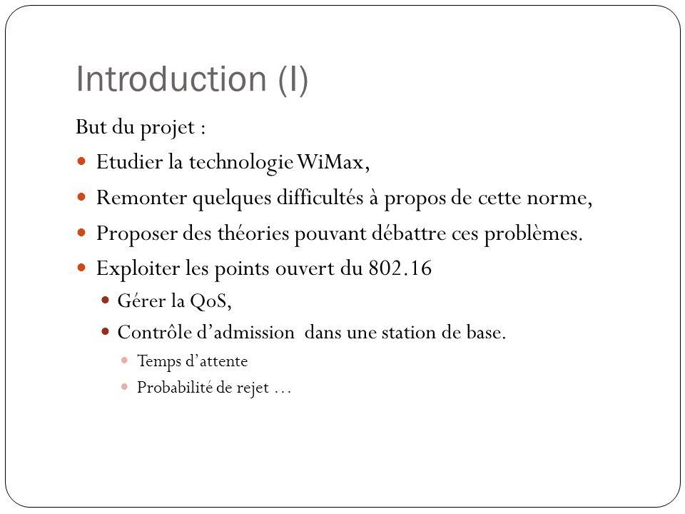 Introduction (I) But du projet : Etudier la technologie WiMax,