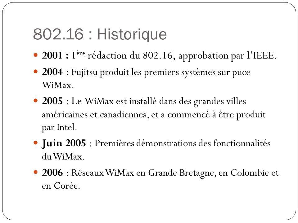 802.16 : Historique 2001 : 1ère rédaction du 802.16, approbation par l'IEEE. 2004 : Fujitsu produit les premiers systèmes sur puce WiMax.