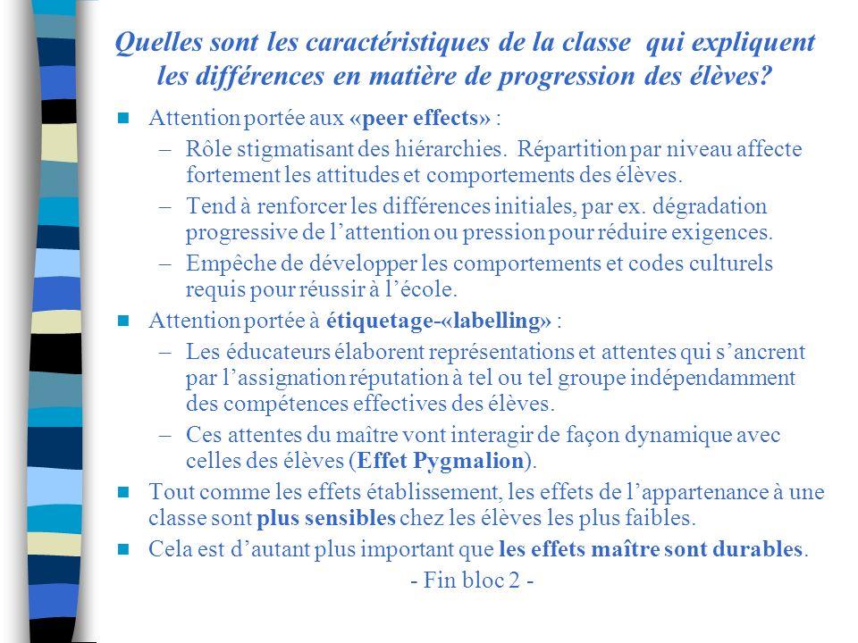 Quelles sont les caractéristiques de la classe qui expliquent les différences en matière de progression des élèves