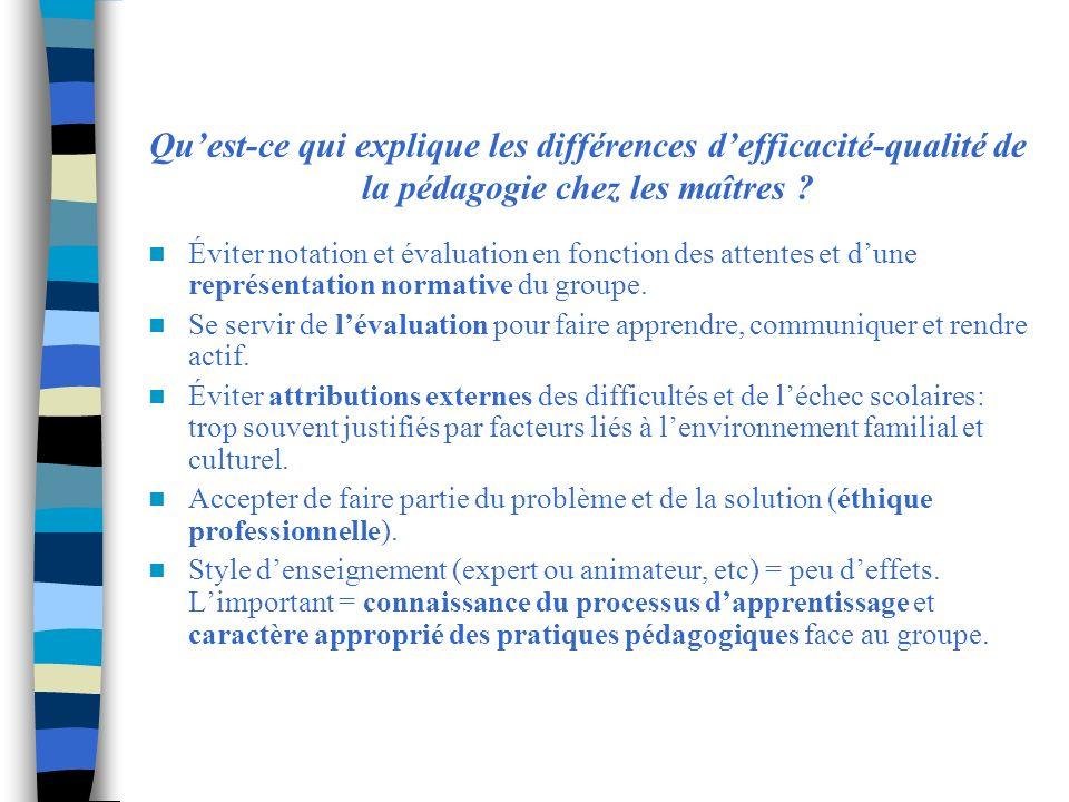 Qu'est-ce qui explique les différences d'efficacité-qualité de la pédagogie chez les maîtres