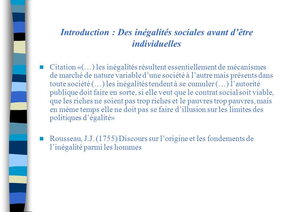 Introduction : Des inégalités sociales avant d'être individuelles