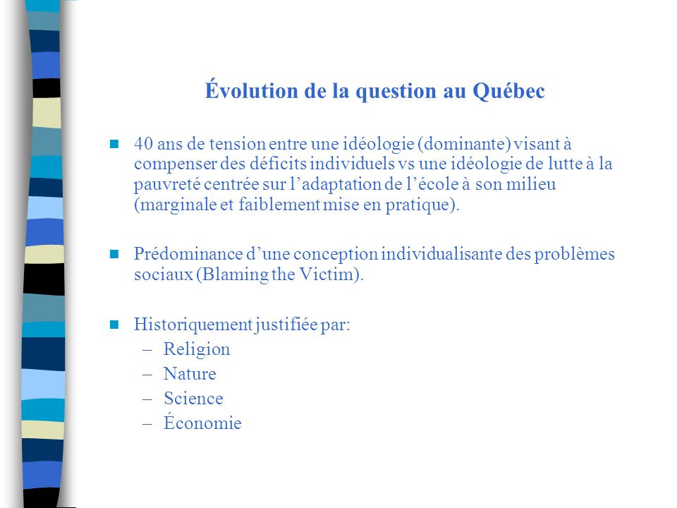 Évolution de la question au Québec