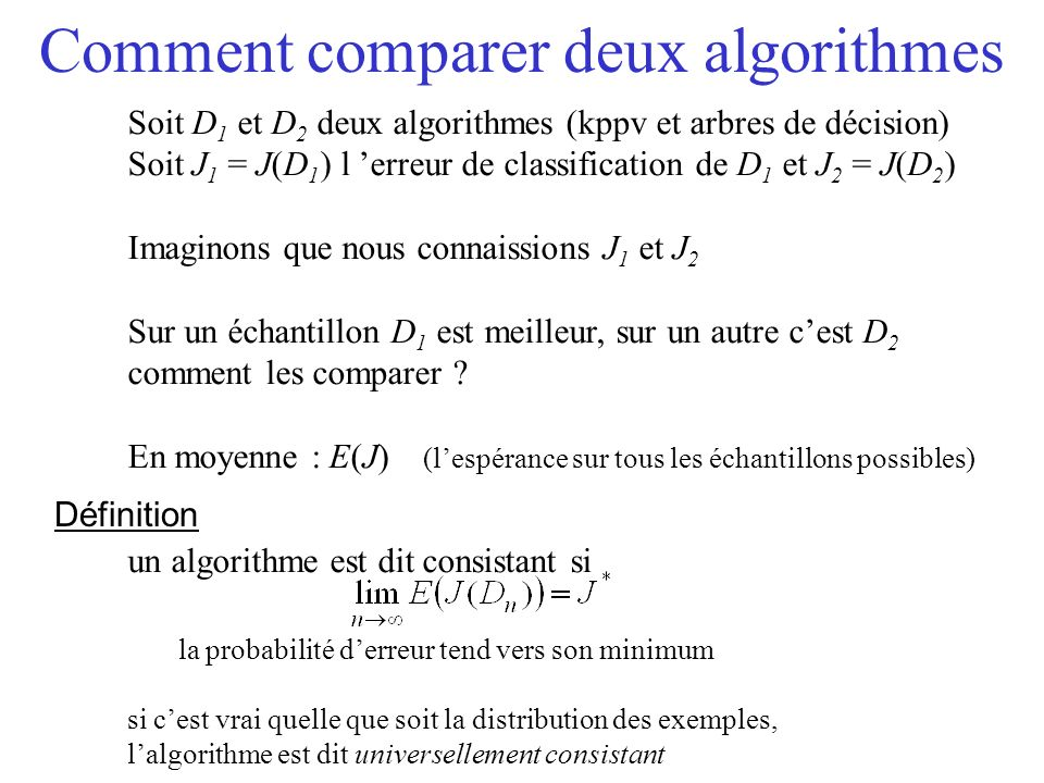 Comment comparer deux algorithmes