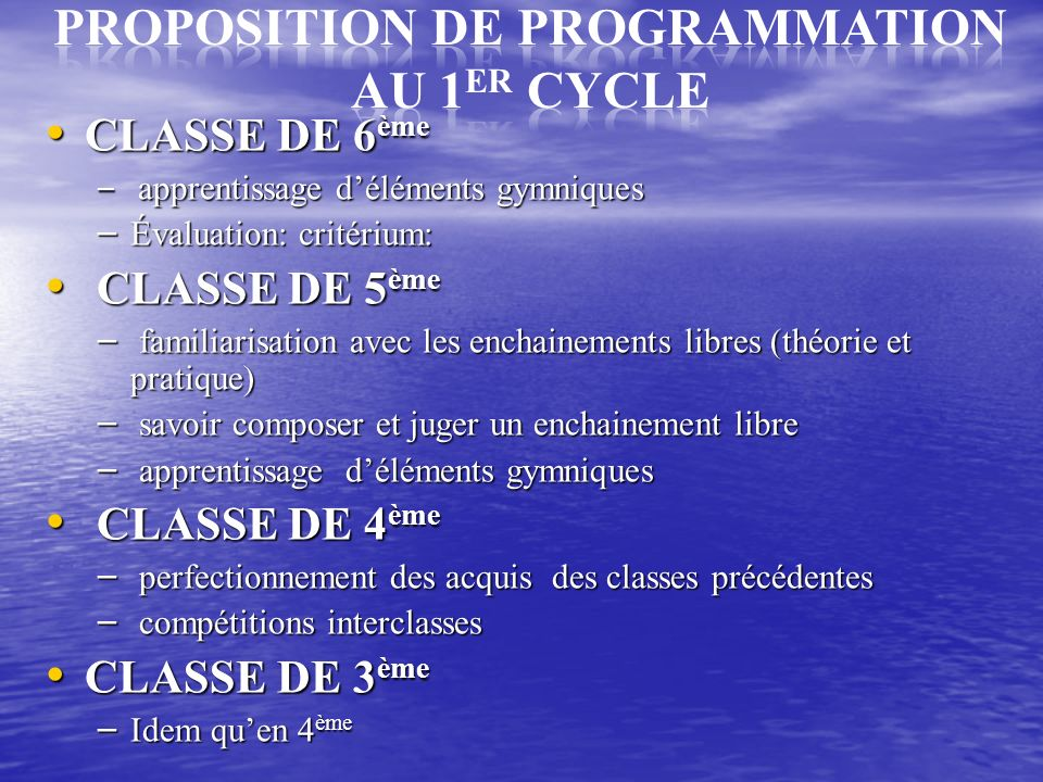 PROPOSITION DE PROGRAMMATION au 1ER CYCLE