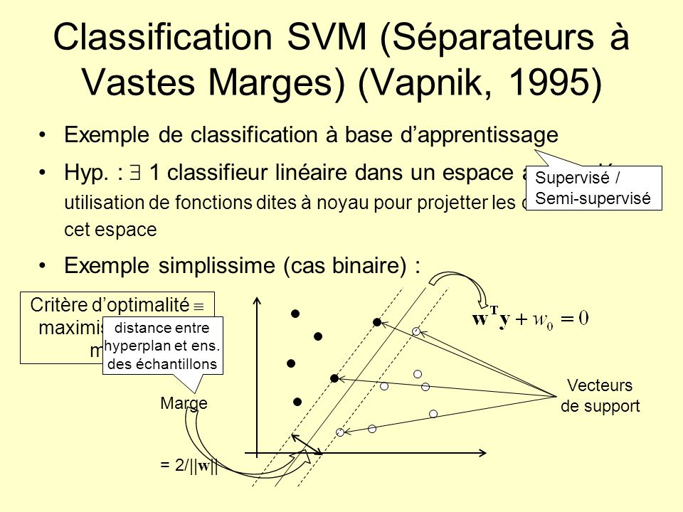 Classification SVM (Séparateurs à Vastes Marges) (Vapnik, 1995)