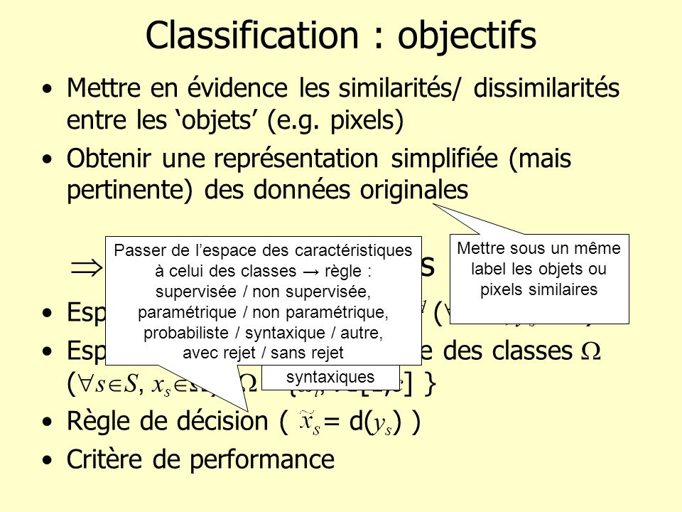 Classification : objectifs