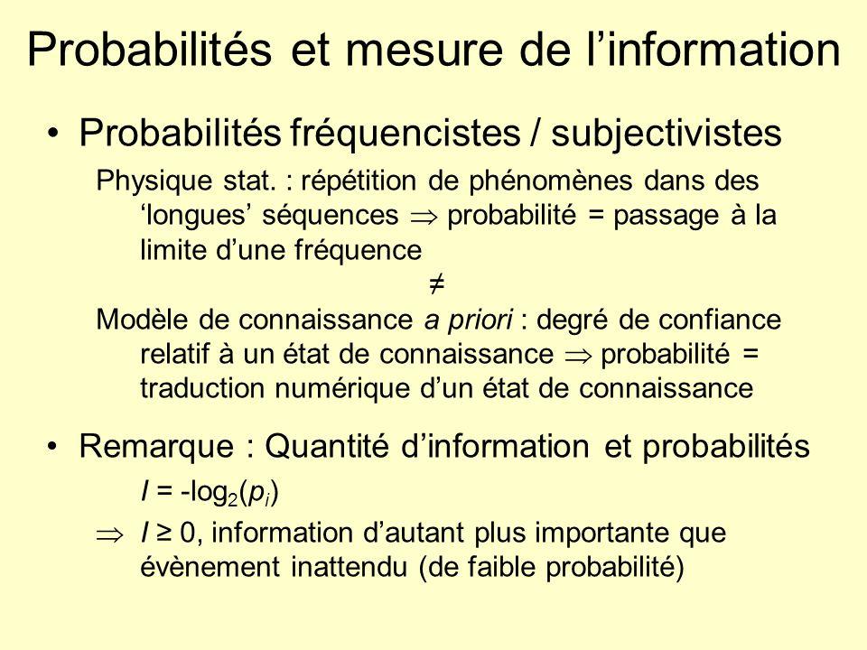 Probabilités et mesure de l'information