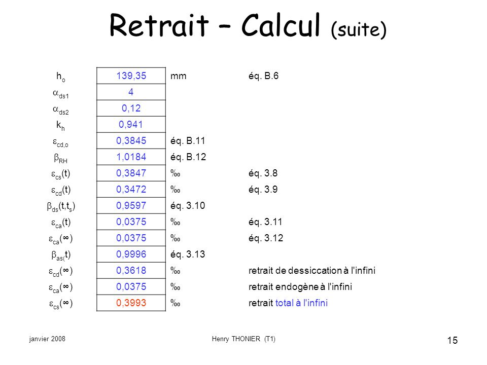 Retrait – Calcul (suite)