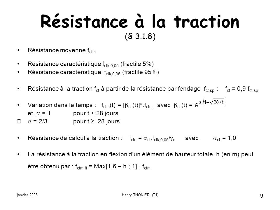 Résistance à la traction (§ 3.1.8)