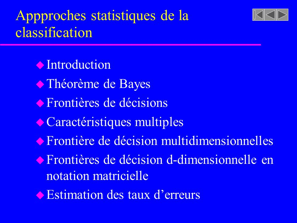 Appproches statistiques de la classification